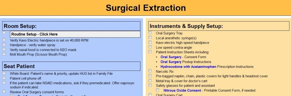 using checklists in developing dental office systems